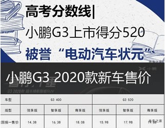 高考分数线|小鹏G3 2020款上市得分520KM 被誉电动汽车状元