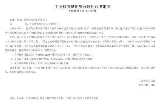 工信部对新大洲本田、东风柳州汽车下发行政处罚决定书