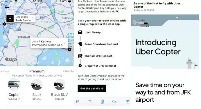 网络晒图显示,从曼哈顿下城至肯尼迪机场,Uber将提供直升飞机服务,单人单次价格约为250美元。相同路段的Uber商务车价格约为200美元