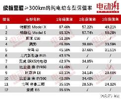 纯电动车保值率排行,冠亚军都是特斯拉,传统自主品牌无一进前5